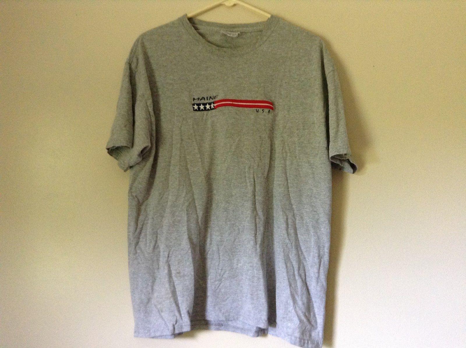 Hanes Heavyweight Gray Maine USA Short Sleeve T Shirt Size Adult Large