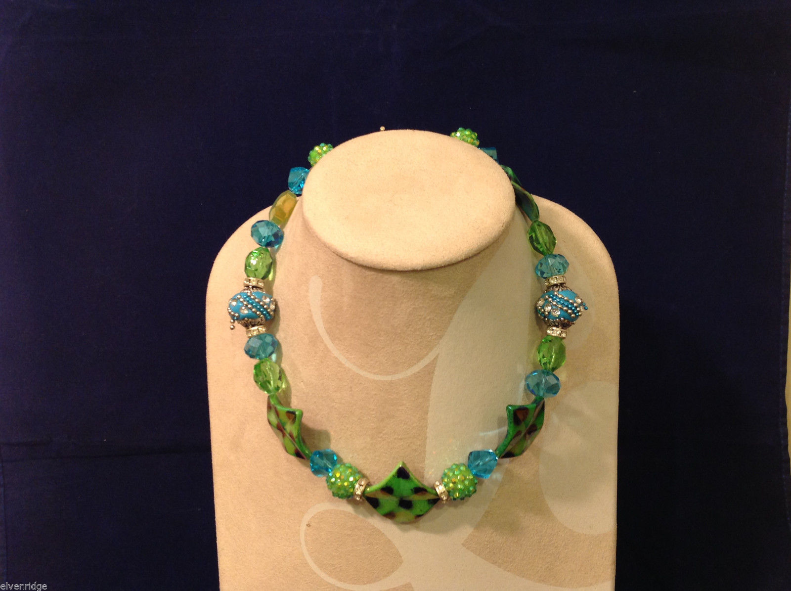 Light Blue and Green Beaded Hand Made String Necklace Unique