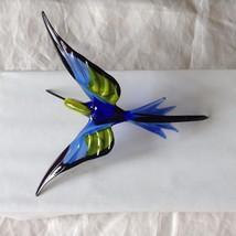 Hand Blown Hummingbird Bee eater Window Ornament w cobalt blue  #1 image 3