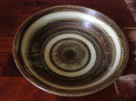 Hand Crafted Artisan Ceramic Bowl Light Green and Brown Pattern 1995 image 2