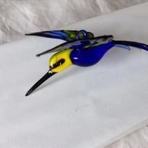 Hand Blown Hummingbird Bee eater Window Ornament w cobalt blue  #1 image 5