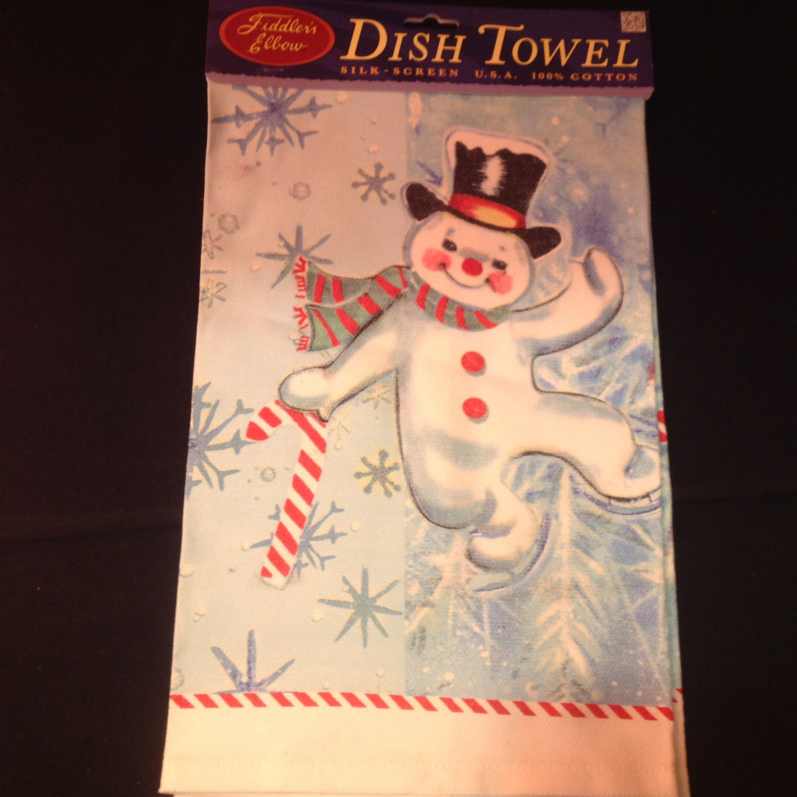 Happy Dancing Snowman Christmas Dish Towel by Fiddlers Elbow Absorbent Lint Free