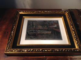 Harbor Shelter Print Painting Wall Decoration Gold Tone Frame Relief