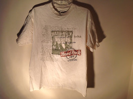 Hard Rock Cafe Logo Graphic Short Sleeve T-Shirt White Green Red Size Large - $39.99