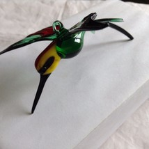 Hand Blown Hummingbird Bee eater Window Ornament  #5 in green red yellow image 3