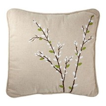 Harbinger of Spring Pussy Willow Canvas Square Porch Pillow Forest Lane Dept 56