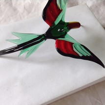 Hand Blown Hummingbird Bee eater Window Ornament  #5 in green red yellow image 5