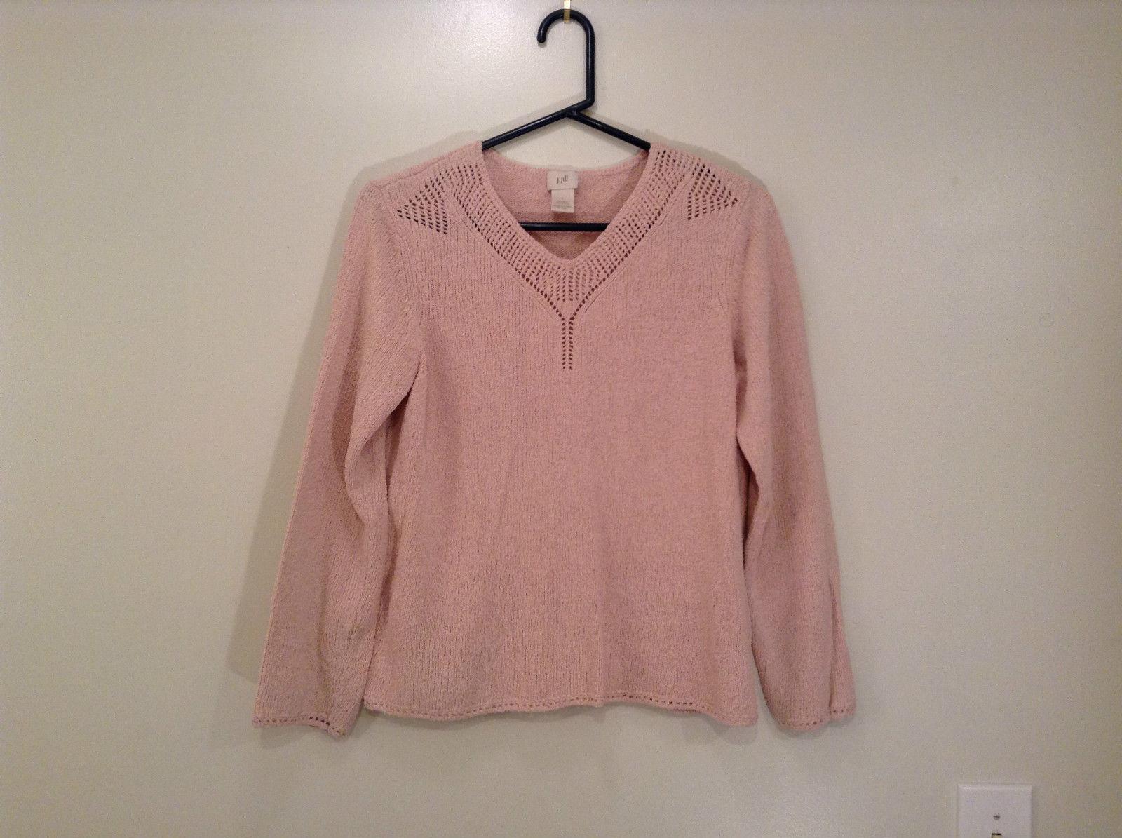 Light Dusty Pink V Neck Sweater Size Large J Jill Decorative Knitting on Neck