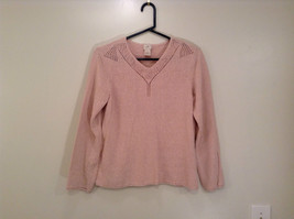 Light Dusty Pink V Neck Sweater Size Large J Jill Decorative Knitting on Neck