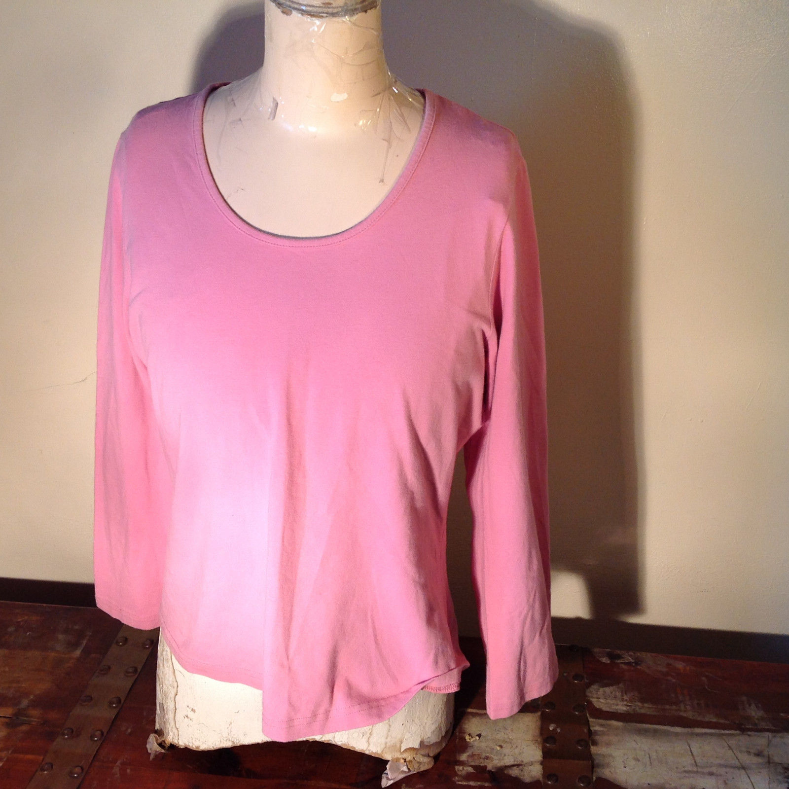 Light Dusty Pink Plain Long Sleeve Top Stretchy Mercer and Madison Size XL