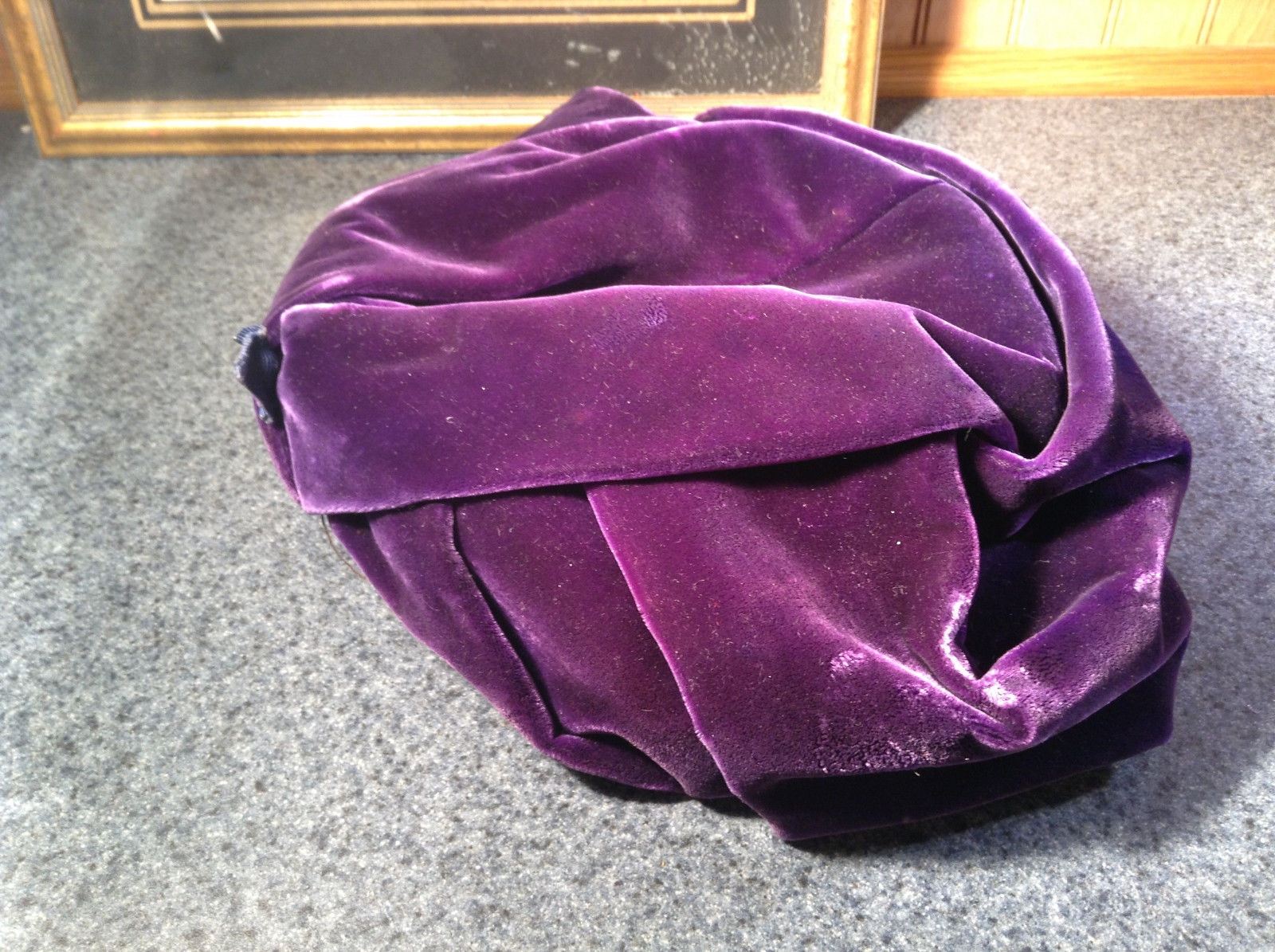 Lightly Worn French Style Dark Purple Hat Most Likely Handmade