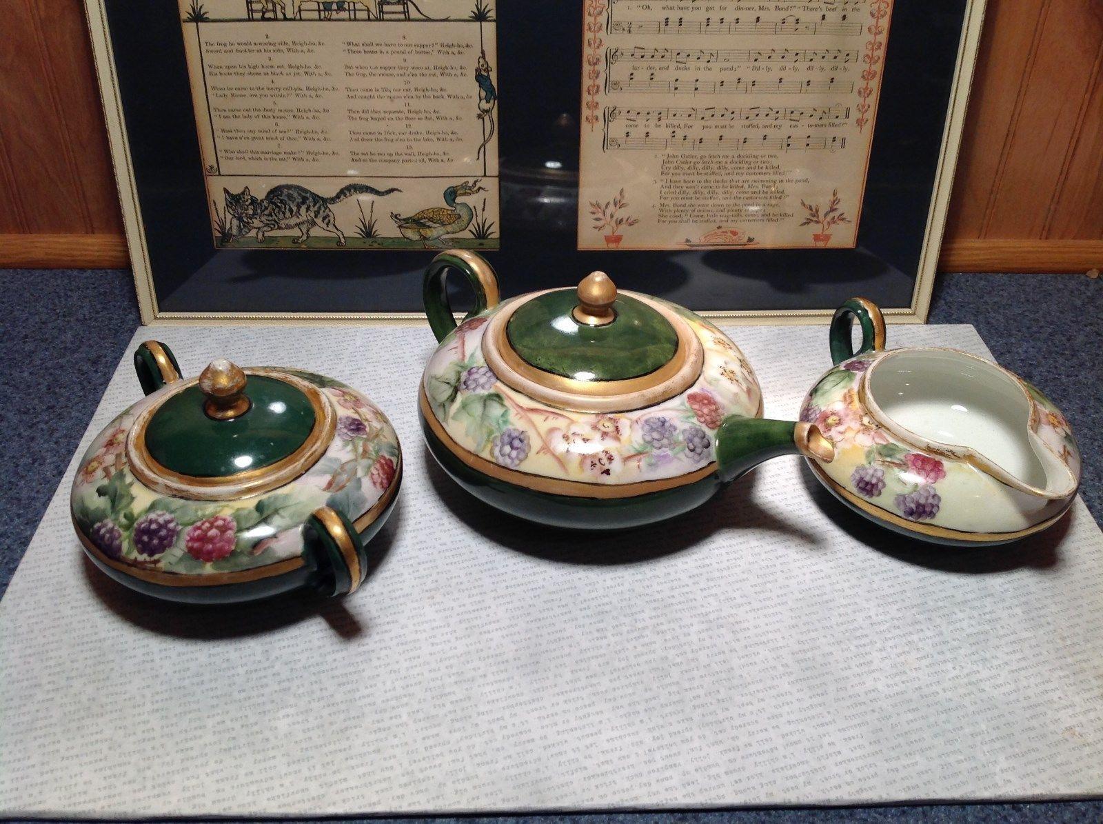 Limoges France Handmade Vintage Tea Set Teapot Creamer Sugar Green Floral Design
