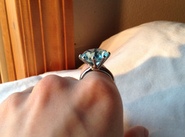 Large Blue Circular Stone Stainless Steel Fashion Ring Sizes 6 and 7 and 8 image 4