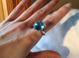 Large Blue Circular Stone Stainless Steel Fashion Ring Sizes 6 and 7 and 8 image 6