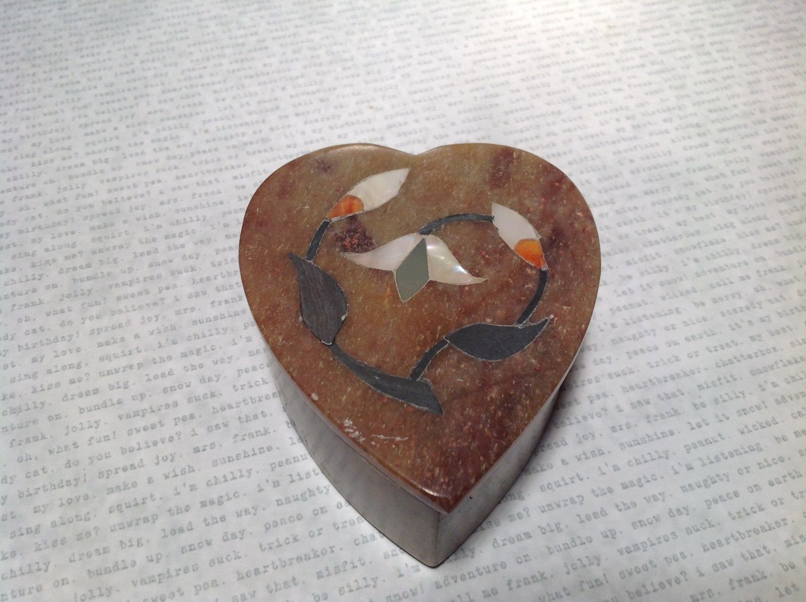 Heart Shaped Vintage Handmade in India Stone Marble Polished Trinket Box