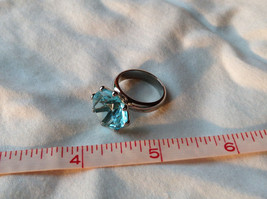 Large Blue Circular Stone Stainless Steel Fashion Ring Sizes 6 and 7 and 8 image 8