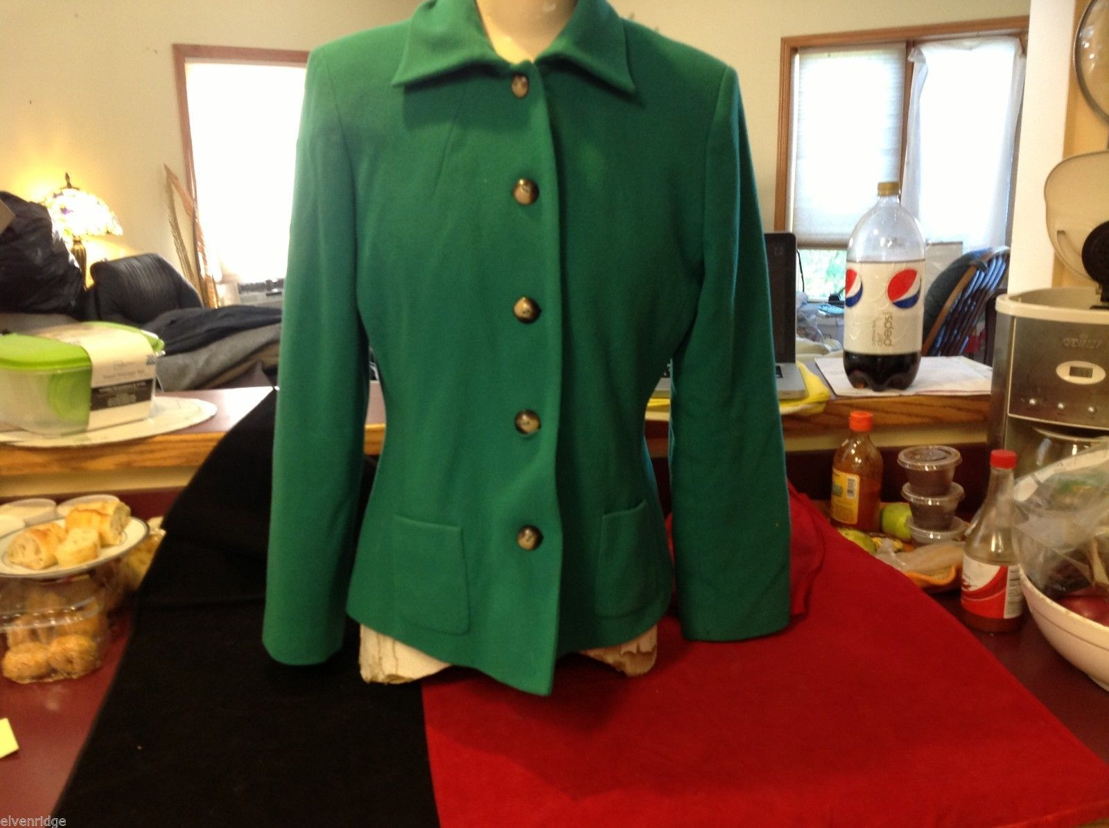Harve Benard Benard Holtzman Green ladies coat jacket short size 12 wool