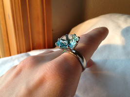 Large Blue Circular Stone Stainless Steel Fashion Ring Sizes 6 and 7 and 8 image 3