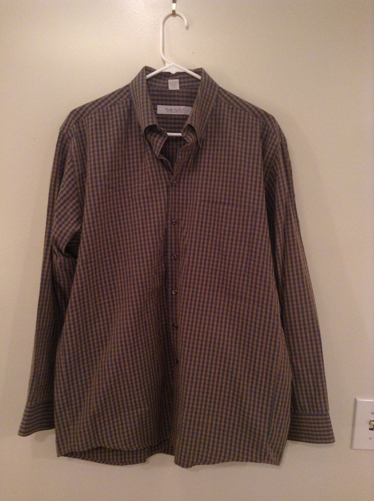 Haupt Evolution Blue Tan Checkered Button Up Shirt Long Sleeves Size Large