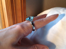Large Blue Circular Stone Stainless Steel Fashion Ring Sizes 6 and 7 and 8 image 7