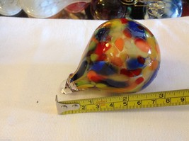 Hand blown heirloom glass Christmas ornament mardi gras party colored teardrop image 5