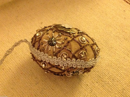 Hand beaded sequined adorned egg with raw silk in brown ornament image 5