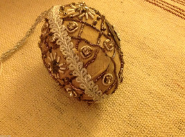 Hand beaded sequined adorned egg with raw silk in brown ornament image 3