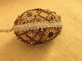 Hand beaded sequined adorned egg with raw silk in brown ornament image 4