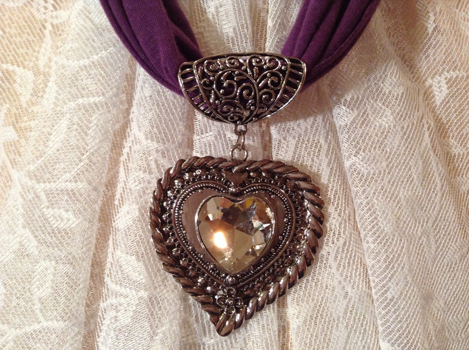 Heart Shaped with Tiny Flower at Bottom Large Heart Shaped Crystal Scarf Pendant