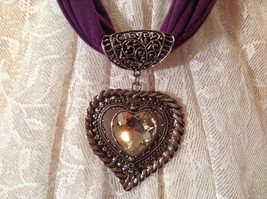 Heart Shaped with Tiny Flower at Bottom Large Heart Shaped Crystal Scarf Pendant image 1
