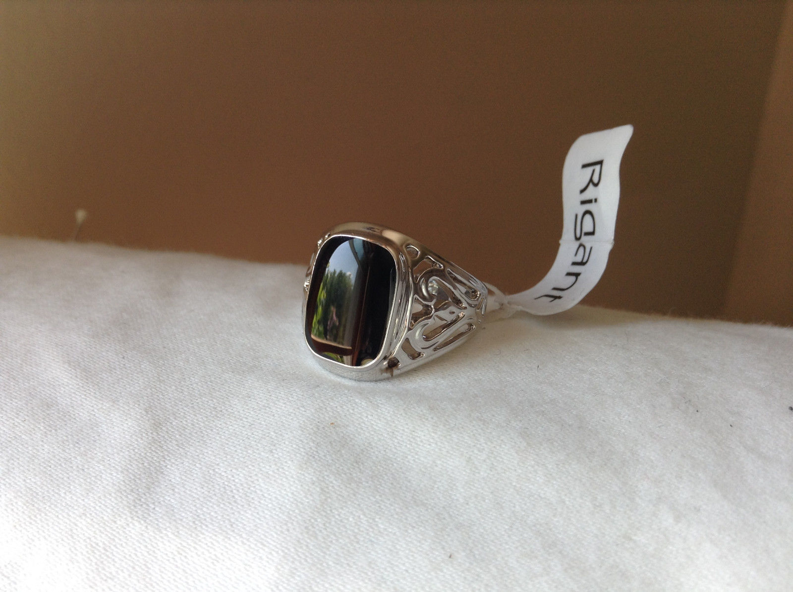 Heart Swirl Design Black Rectangular Stainless Steel Ring Size 9