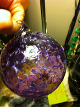 Hand blown large heirloom glass Christmas ornament in amethyst and gray white image 4