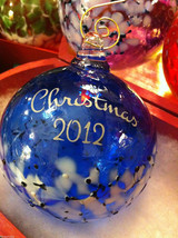 Hand blown large heirloom glass Christmas ornament in blue white etched 2012 image 2