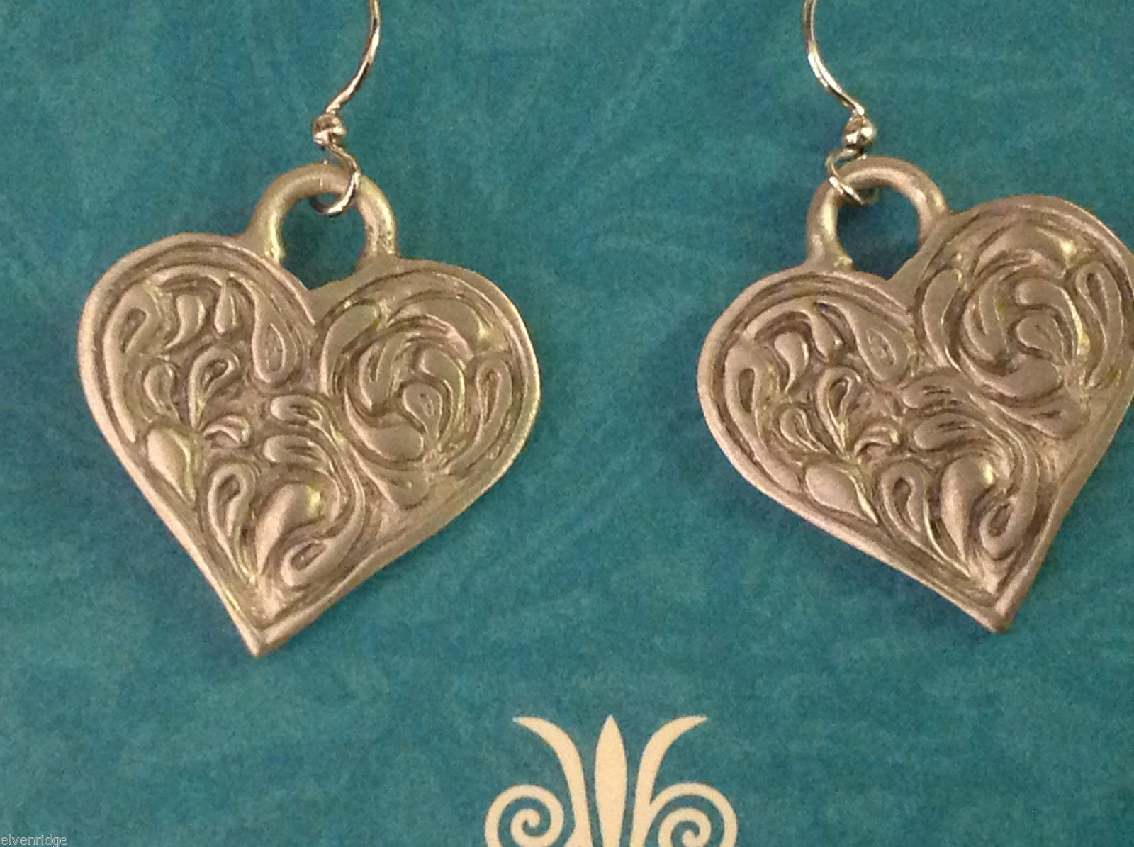 Heart earrings hand made in pewter with sterling silver ear wires USA made