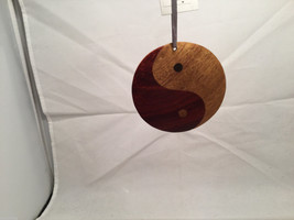 Hand carved multi colored grained wood Ying Yang wooden ornament double sided image 4