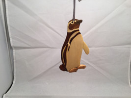 Hand carved multi colored grained wood Penguin bird ornament double sided image 4