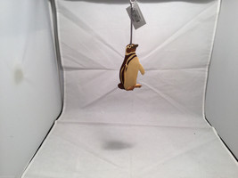 Hand carved multi colored grained wood Penguin bird ornament double sided image 3
