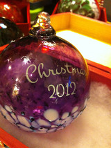 Hand blown large heirloom glass Christmas ornament in purple white etched 2012 image 3