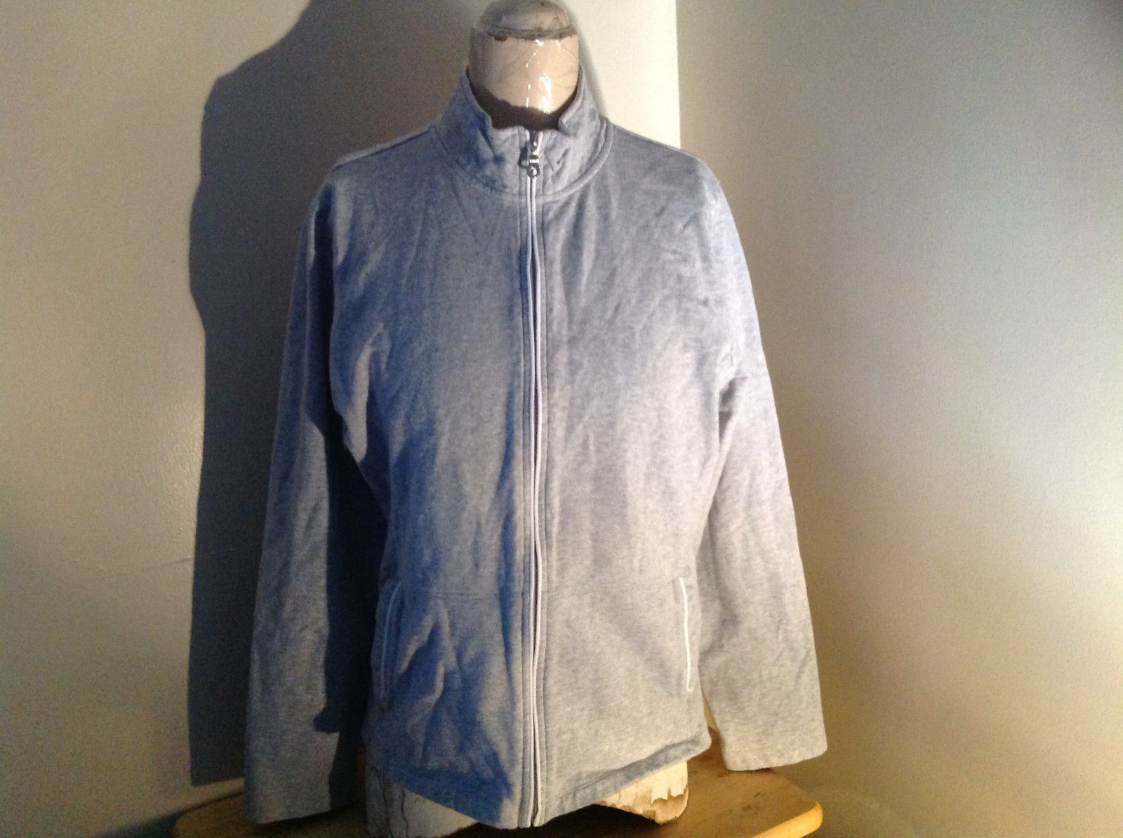 Heather Gray Zip Up Sweat Jacket Style & Co. Made in Cambodia Size Large