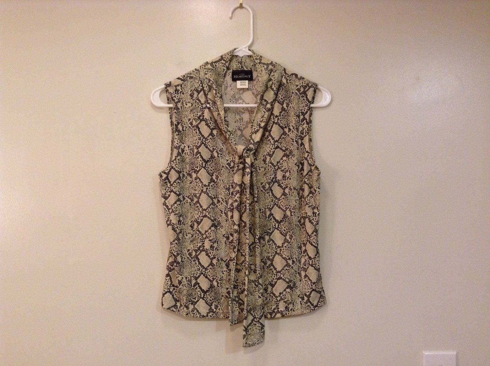 Heavenly Snake Print Beige Black V Neck Blouse Collar with Tie Sleeveless Size M