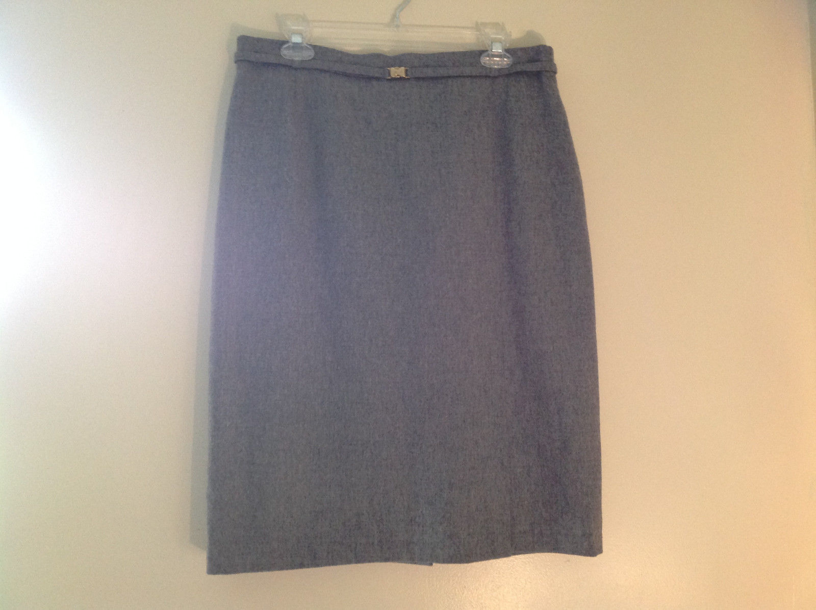 Heather Gray Belt Decorated Wool Knee Length Pencil Style Skirt by Basler