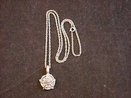 Heavy Silver Colored Metal Flower Pendant on Chain