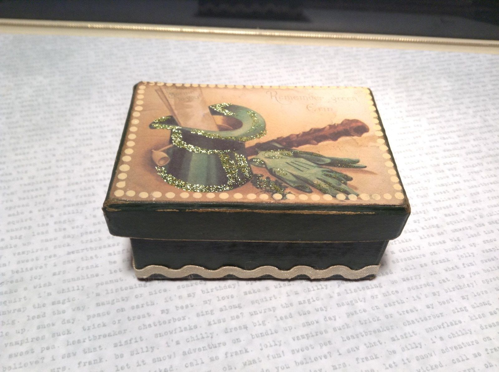 Heavy Duty Paperboard Irish Trinket Box Green Hat Remember Green