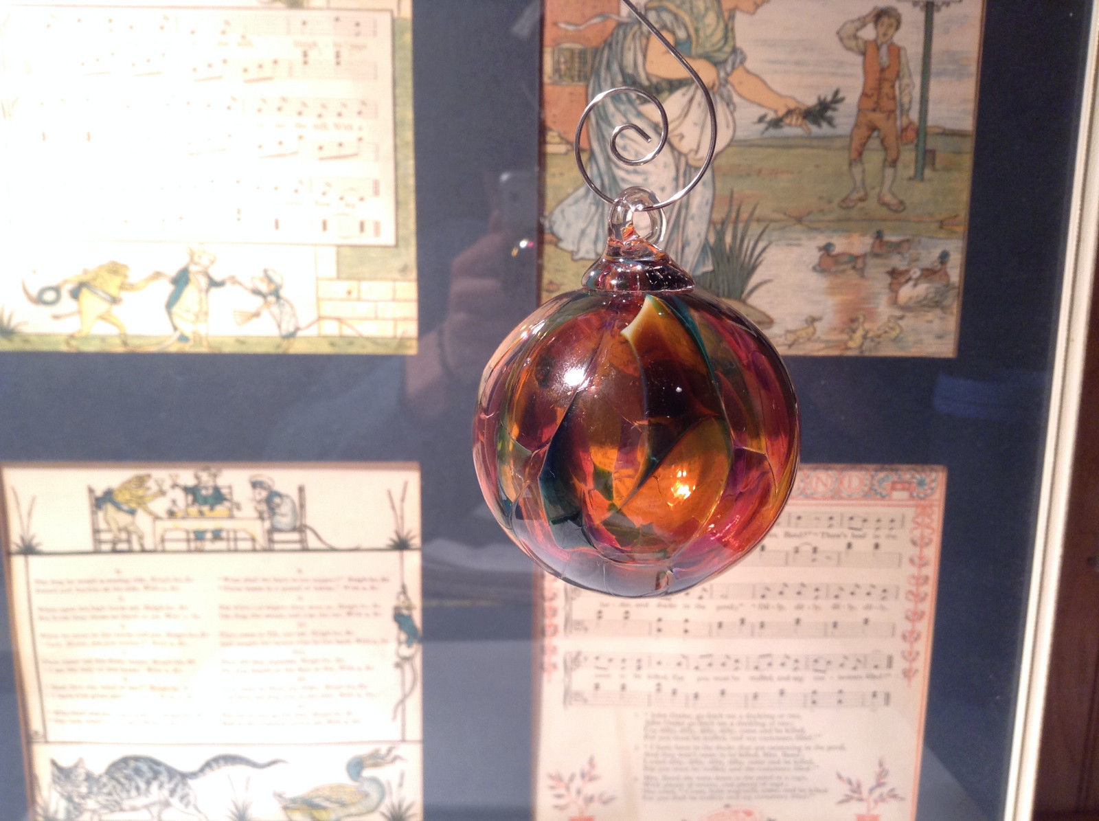 Heirloom Glass Hand Blown Ornament Studio Glass Orange Burgundy Green