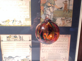 Heirloom Glass Hand Blown Ornament Studio Glass Orange Burgundy Green - $34.64