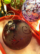 Hand blown large heirloom glass Christmas ornament in purple etched with Peace image 4