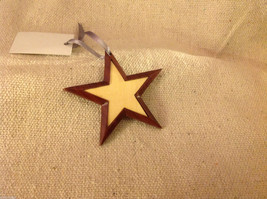 Hand carved multi colored grained wood five point star ornament double sided image 2