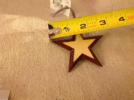 Hand carved multi colored grained wood five point star ornament double sided image 3