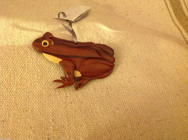 Hand carved multi colored grained wood frog  ornament double sided image 2