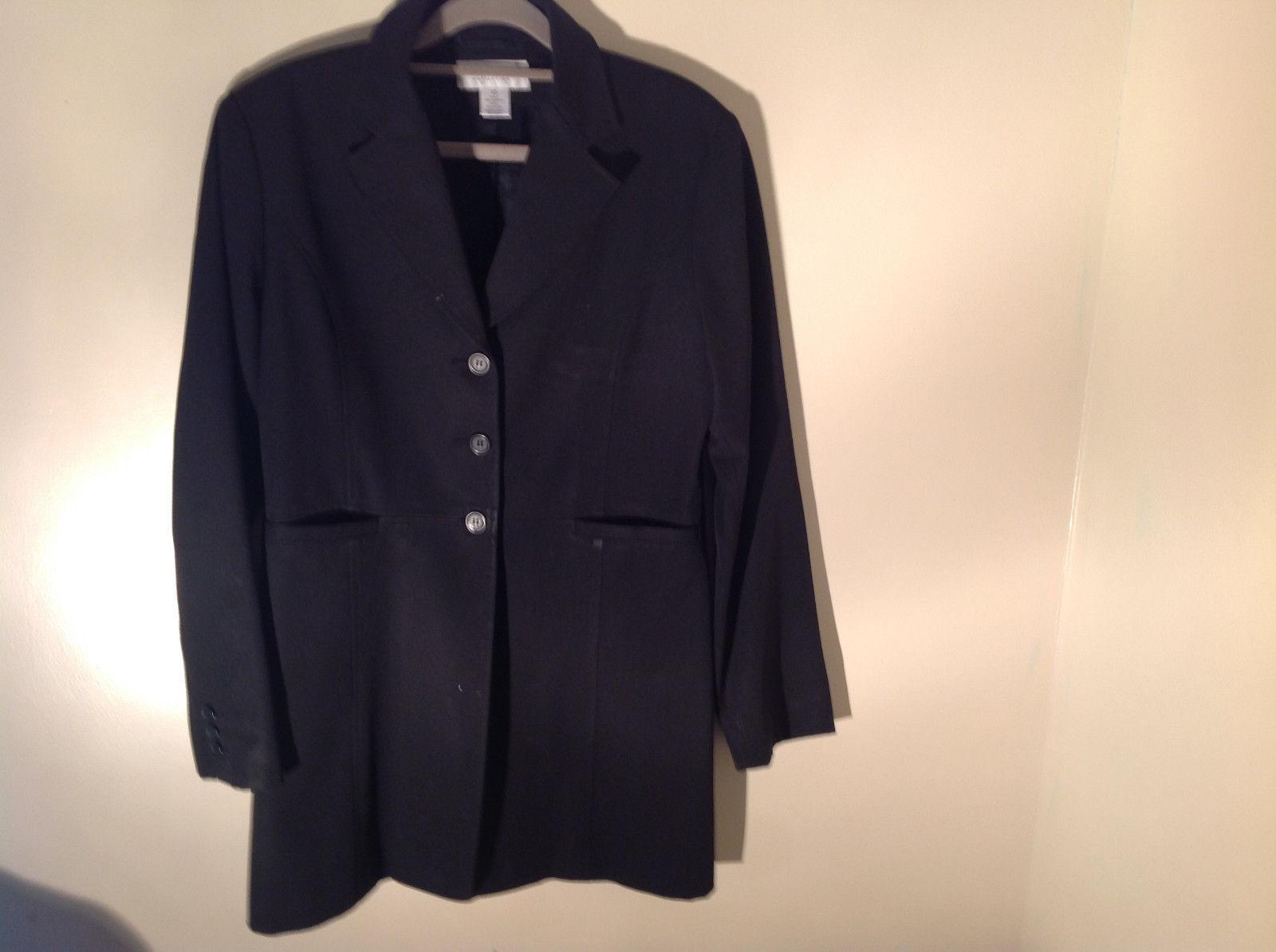 Hennes Collection Black Long Formal Jacket Front Pockets Shoulder Pads Size 10